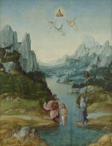 Nachfolger des Joachim Patenier, Landschaft mit Taufe Christi, 1. Drittel 16. Jh., Öl auf Holz