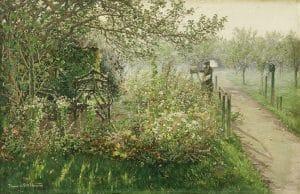 Theodor von Hörmann, Der Maler im Blumengarten (Selbstbildnis), um 1892, Öl auf Leinwand