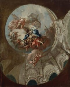 Paul Troger, Aufnahme Marias in den Himmel (Entwurf zum Deckengemälde im Chor des Domes in Brixen und der Mariahilfkirche in Wien), 1748, Öl auf Leinwand