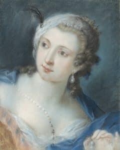Rosalba Carriera, Porträt einer Dame, um 1730, Pastell auf Papier, auf Leinwand aufgezogen