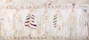 unbekannt, Reigentanz, um 1390/1400, Kalkmalerei, übertragen auf Leinwand und Kunstharzträger (Glasfaserlaminat)