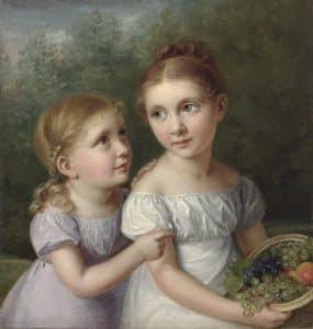 Augusta von Buttlar, Porträt Adelheid und Marianne von Buttlar, um 1827, Öl auf Leinwand