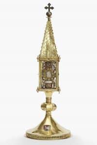 Deutsch, Turmreliquiar, 15. Jahrhundert, Kupfer, feuervergoldet
