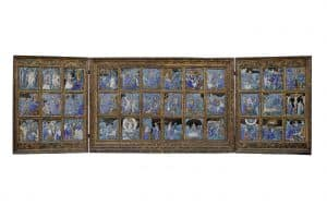 Limoges, Flügelaltar aus 36 Emailtafeln mit Darstellungen aus dem Leben und der Passion Christi, um 1550, Email auf Kupfer