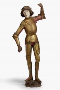 Michael Pacher und Werkstatt (?), Hl. Florian (aus der ehem. Filialkirche Hl. Apostel, heute Filialkirche Hl. Andreas, in Laas), um 1480, Holz, farbig gefasst, vergoldet