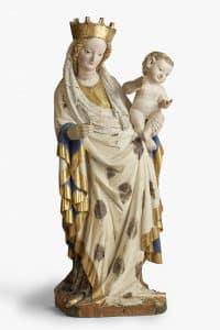 Meister von Seeon und Werkstatt, Madonna mit dem Kind, um 1430, Holz, farbig gefasst, Gold- und Silberauflage