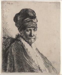 Rembrandt van Rijn, Mann mit Schnurrbart und turbanartiger Mütze, genannt der Jude Philo