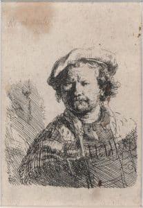 Rembrandt van Rijn, Selbstbildnis mit flacher Mütze und besticktem Kleid